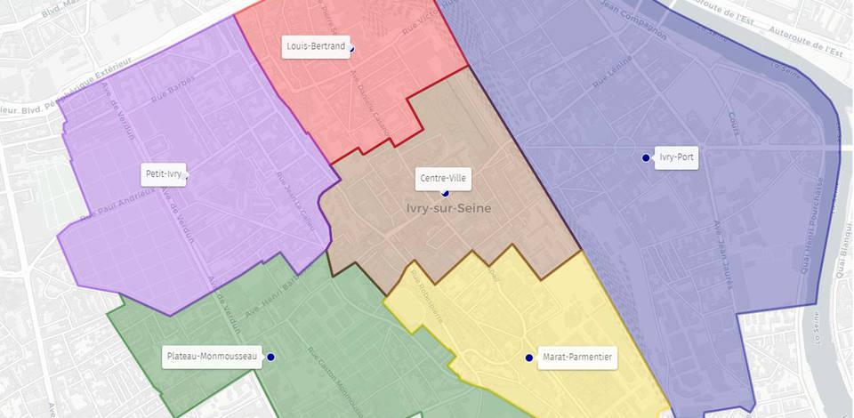 ivry sur seine carte Plan des quartiers | Ville d'Ivry sur Seine